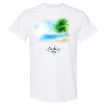 Coastlines Designs Beach Tree Watercolor Series on a White T Shirt