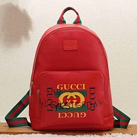 GUCCI Women Fashion Leather Backpack Shoulder Bag Bookbag