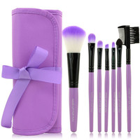 Purple Travel Brush Kit,7 Piece 1 set
