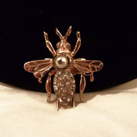Nettie Rosenstein Unsigned Bee Insect Sterling Vermeil Pearl & Glass Rhinestone Art Deco Fur Clip