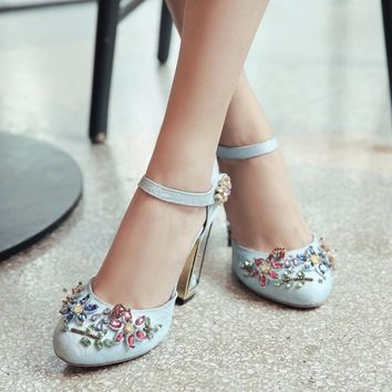 New Arrival Bird Cage Flower Chunky Heel Women Pumps Luxury Crystal Embellished Buckle Strap Suede Female High Heel Sandals