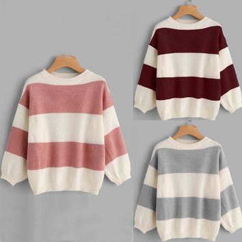 Cute Boxy 3/4 Sleeve Crew Neck Big Stripe Knitted Sweater