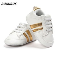 Romirus hot sale baby moccasins PU Leather toddler first walker soft soled girls shoes Newborn 0-1 years baby boys Sneakers