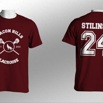 Stilinski 24 Beacon Hills Lacrosse Teen Wolf Men Short Sleeves Maroon Tshirt tee