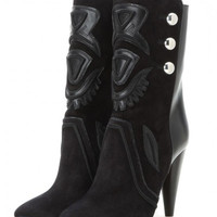 Black Suede Front Studded Floral Heeled Knee High Boots