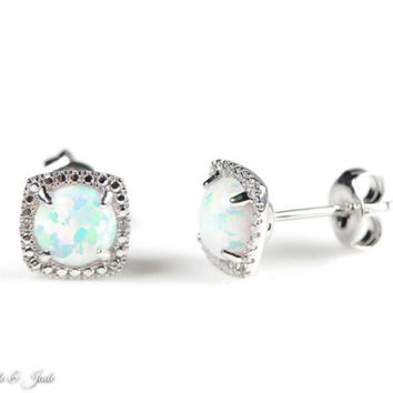 Sterling Silver White Opal and Diamond Halo Stud Earrings