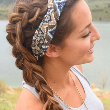 Chevron Printed Twist Headband