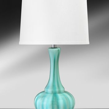 Medallion Aqua Pearl Glass w/Chrome Glass/Steel Table Lamp