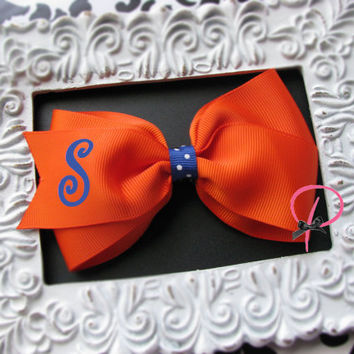 """Orange and Blue Personalized Initial Monogrammed 5"""" Large Bow - Hair Clip , Choose your letter"""
