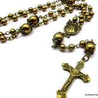Catholic Rosary -Bronze Swarovski Pearls in Antique Brass