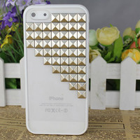 White transparent Hard Case Cover With Silvery Stud for Apple iPhone5 Case, iPhone 5 Cover,iPhone 5 Case, iPhone 5g