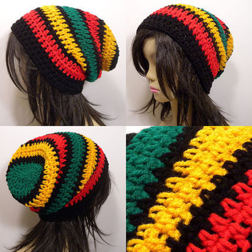 Slouchy Beanie Crochet Hat in Thick Rasta Stripes