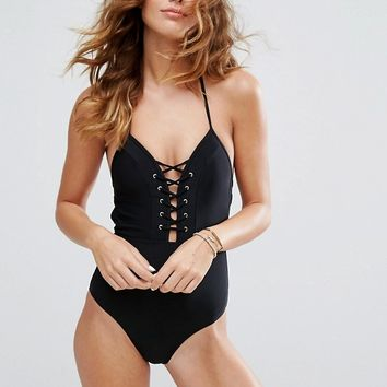 New Look Plunge Lace Up Swimsuit at asos.com