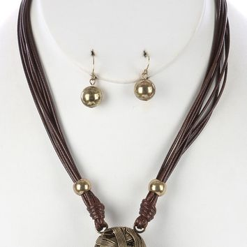 Gold Woven Wire Hollow Ball Multi Cord Bib Necklace And Earring Set