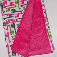 Baby Blanket Minky Giraffe/ Pink/ Gray/Green print with Pink  Minky Dot