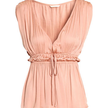 V-neck Satin Top - from H&M