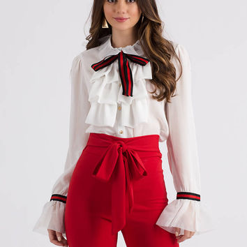 Poetry In Motion Ruffled Bow Blouse