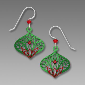 Adajio Earrings - Red and Green Moorish Small Teardrop with Rhinestone