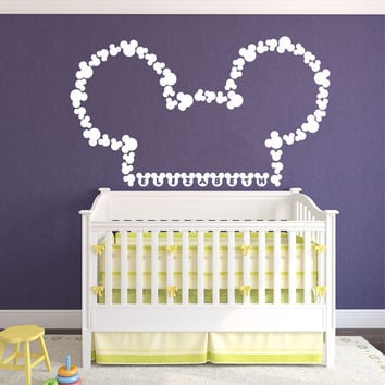 Wall Decal Vinyl Sticker Decals Art Home Decor Design Mural Disney Personalized Custom Baby Name Head Mice Ears Mickey Mouse Gift Kids AN301