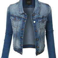 LE3NO Womens Vintage Long Sleeve Distressed Ripped Denim Jacket with Pockets (CLEARANCE)