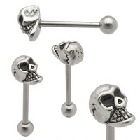"Tongue Ring 3D Skull 10x6mm Head 14 Gauge 5/8"" Steel Barbell Body Jewelry"