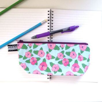 Hibiscus Flat Bottom Pencil Case (handmade philosophy's pattern)