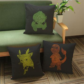 Cartoon Car Styling Pillow Cover Cases Home Decore Modern Cojines Office Chair Decorative Cushion Cover For Sofa e674Kawaii Pokemon go  AT_89_9