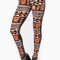 Geometric Tribal Print Orange Leggings
