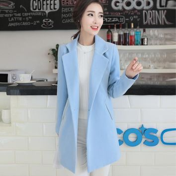 autumn winter women fashion elegant slim woolen trench coat blends lady casual  woolen long style coat blends