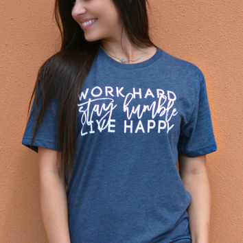 Stay Humble Tee - Heather Navy