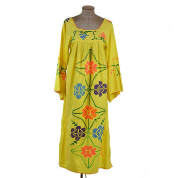 70s Vintage Mexican Yellow Embroidered Maxi Peasant Dress Square Neckline Angel Sleeves Boho