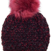 Faux Fur Pom Pom Knit Beanie Hat - Burgundy