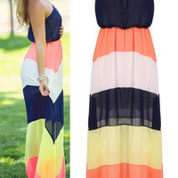 'The Melisande' Boho Striped Strapless Chiffon Maxi Dress
