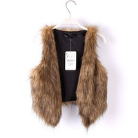Cute Little Popular Brown Faux Fur Vest