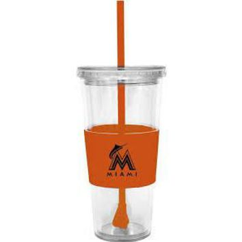 Lidded Cup with Straw MLB Marlins by Boelter Brands
