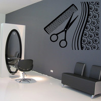 Wall decal decor decals art hair hairdryer salon scissors comb curl beauty master stylist girl woman (m939)