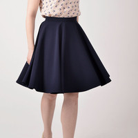 Navy blue circle skirt