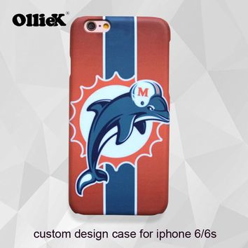 Free shipping Fashion Miami dolphin design case for iphone 6 6s make custom logo case for apple phone with customer gift