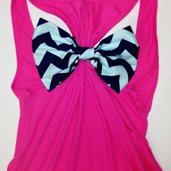 Racer Back Bow Tank Top Razorback Bow Tank Top Chevron Bow Tank Chevron Tank Top Bow Tank Top