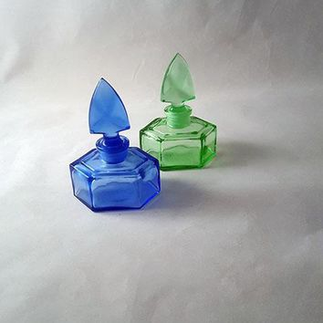 One Lime Green and One Blue Glass Hexagon Perfume Bottle with Stopper