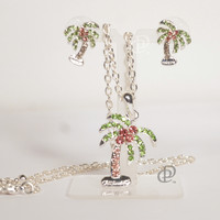 Rhinestone Palm Tree Pendant Earrings Set with Necklace Chain