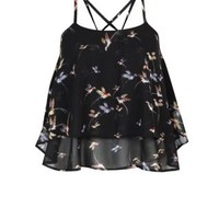 Belle Heart Black Bird Print Layered Crop Cami
