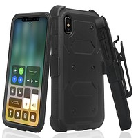 Apple iPhone XS Max Case, Apple A1921 Case,  Triple Protection 3-1 w/ Built in Screen Protector Heavy Duty Holster Shell Combo Case - Black