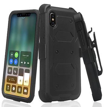 Apple iPhone XR Case, Apple A1984 Case,  Triple Protection 3-1 w/ Built in Screen Protector Heavy Duty Holster Shell Combo Case - Black