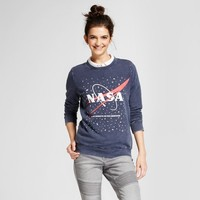 Women's NASA Graphic Pullover Sweatshirt - Mighty Fine (Juniors') Navy
