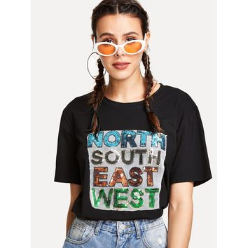 Sequin Letter Patched T-shirt