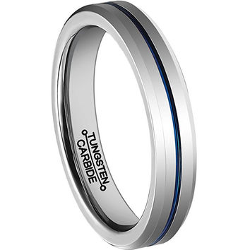 4mm Thin Blue Line Plated Tungsten Carbide Ring Wedding Band