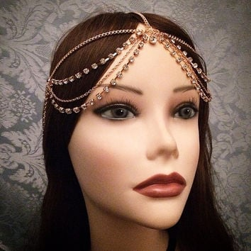 1920's Inspired Goddess Headchain Grecian 1920s head chain headpiece piece 20's headband band Crystal Rhinestone Metal Draped Wedding Bridal