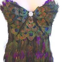 SEXY HOT PEACOCK Feather Corset Custom Made Las by sajeeladesign