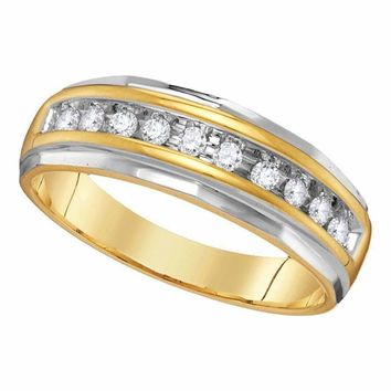 14kt Two-tone Yellow Gold Men's Round Diamond Single Row Grooved Wedding Band Ring 1/4 Cttw - FREE Shipping (US/CAN)